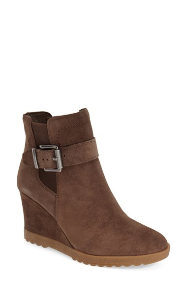 vince camuto landri suede belted wedge boots in brown lyst