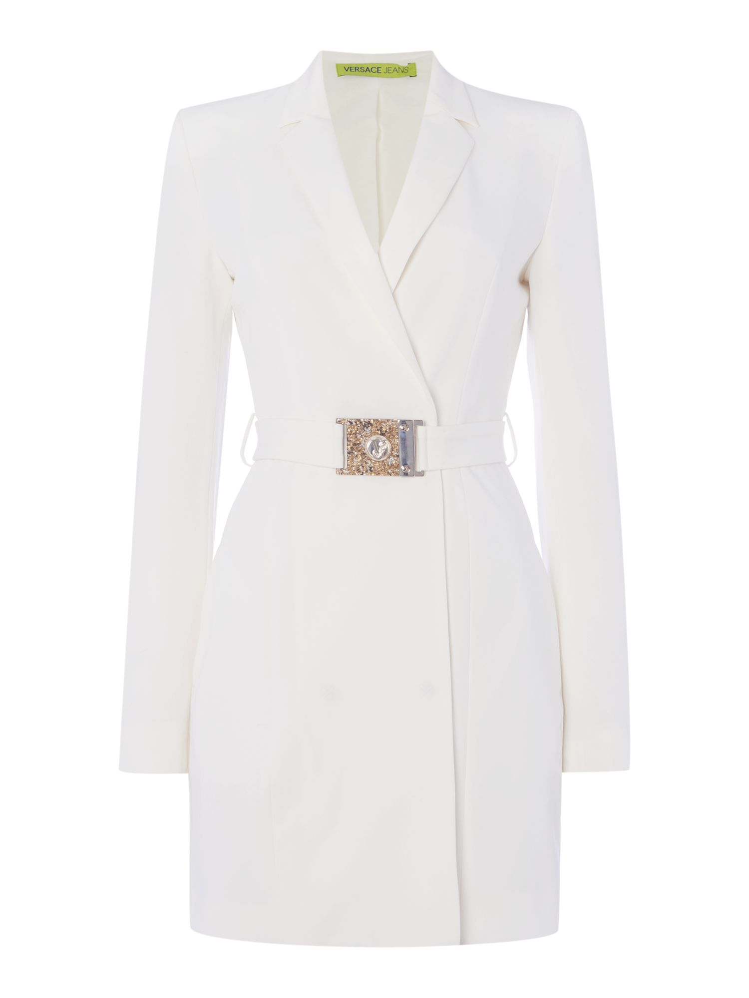 Versace jeans Long Blazer Jacket With Belt in White | Lyst