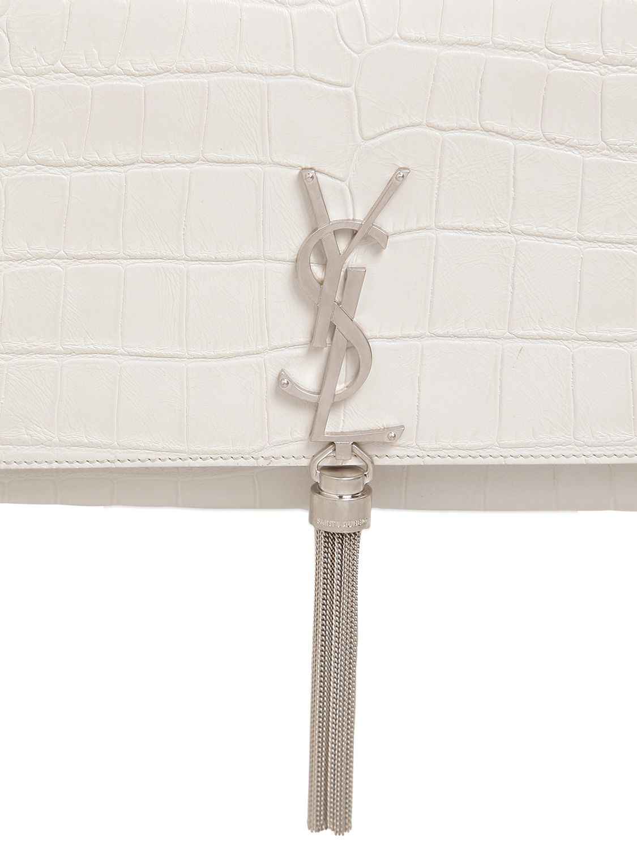 Monogram Saint Laurent Chain Wallet In Pearl White Crocodile Embossed Leather