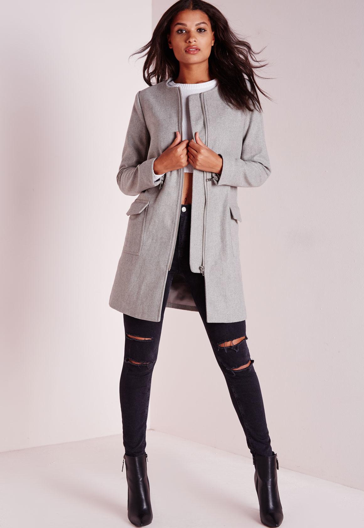 Womens Gray Coat Photo Album - Asianfashion