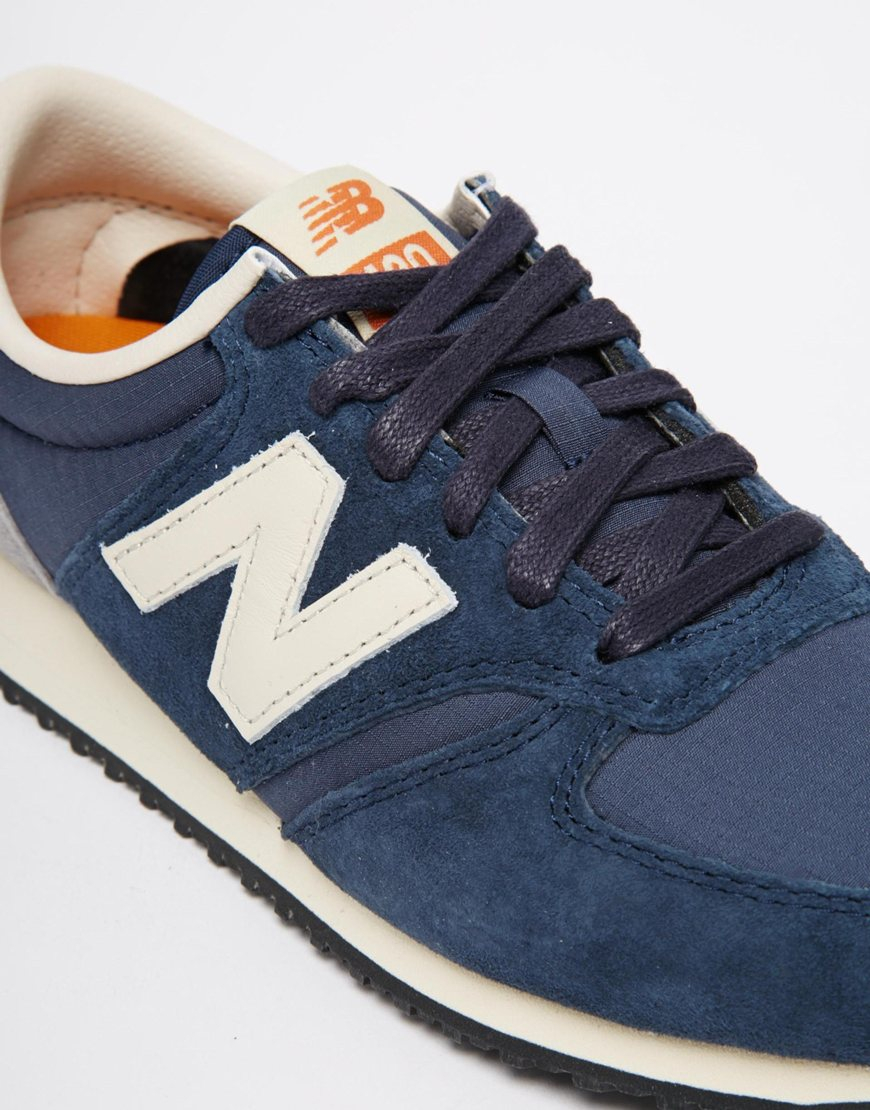 new balance 420 navy vintage trainers in blue navy lyst. Black Bedroom Furniture Sets. Home Design Ideas