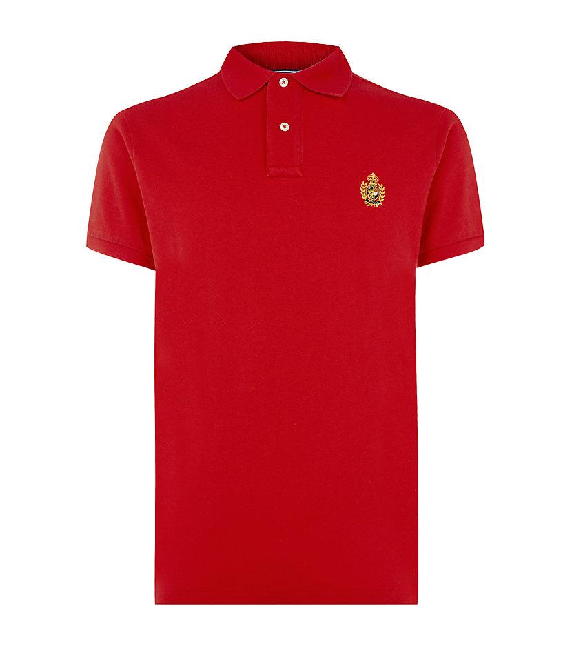 Polo ralph lauren custom fit crest polo shirt in red for for Polo ralph lauren custom fit polo shirt