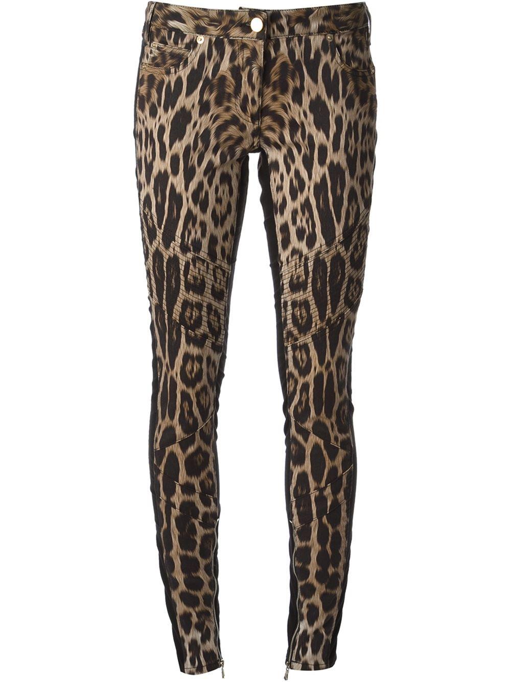 Roberto cavalli Leopard Print Skinny Jeans in Beige (nude ...
