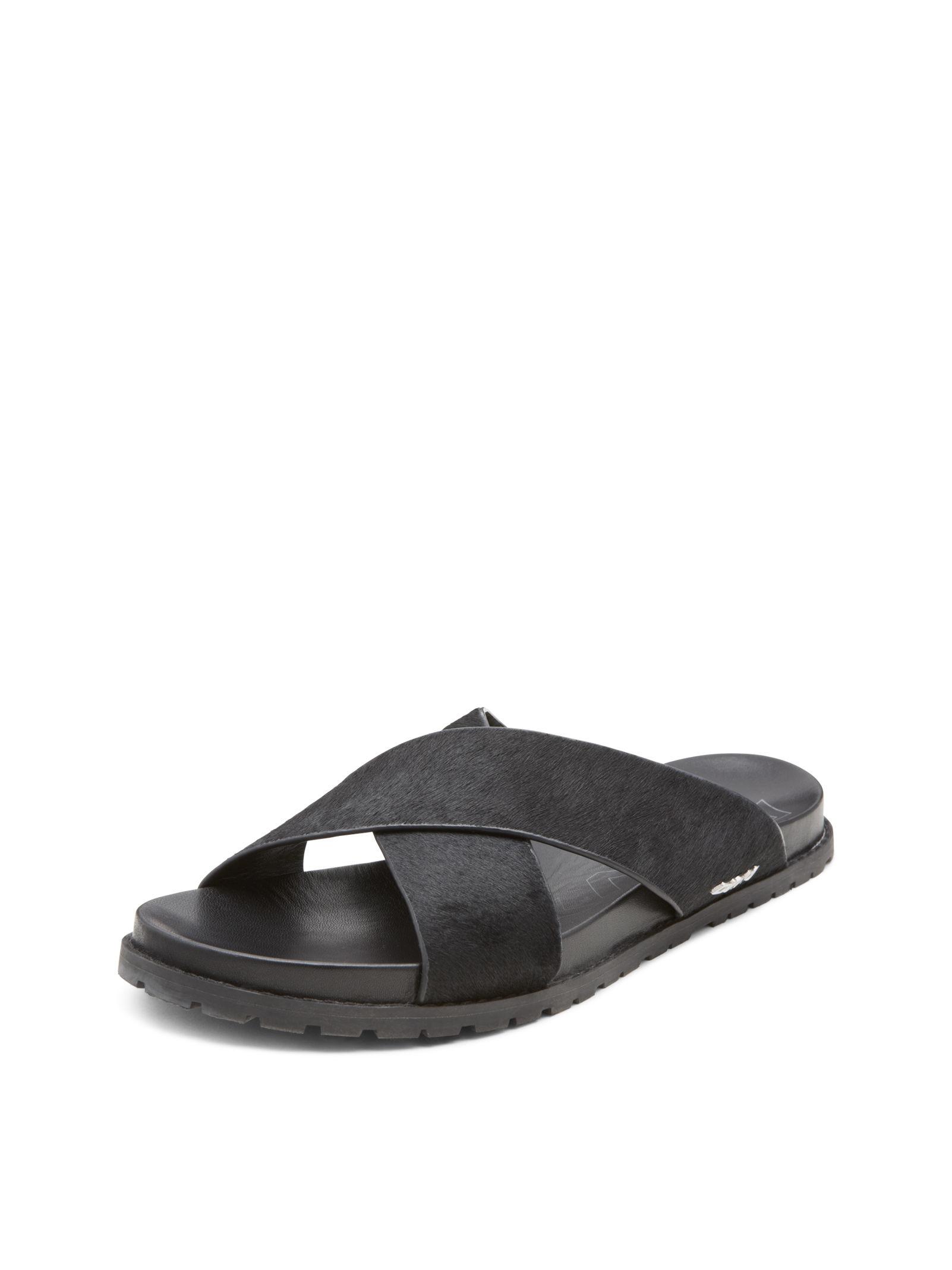 dkny steph haircalf leather sandal in black for men lyst