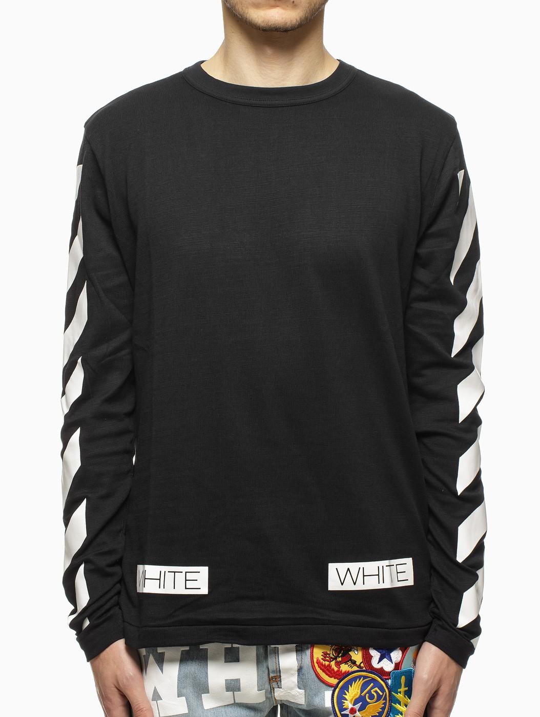 Off White C O Virgil Abloh Striped Long Sleeve T Shirt In