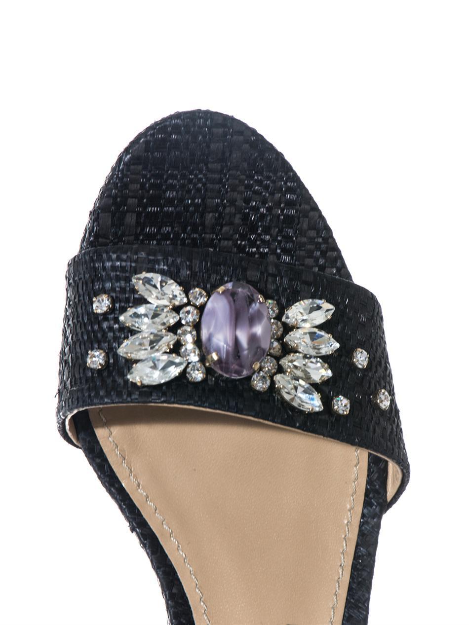 58142b33ee94b5 Lyst - Dolce   Gabbana Bianca Raffia Wedges in Black