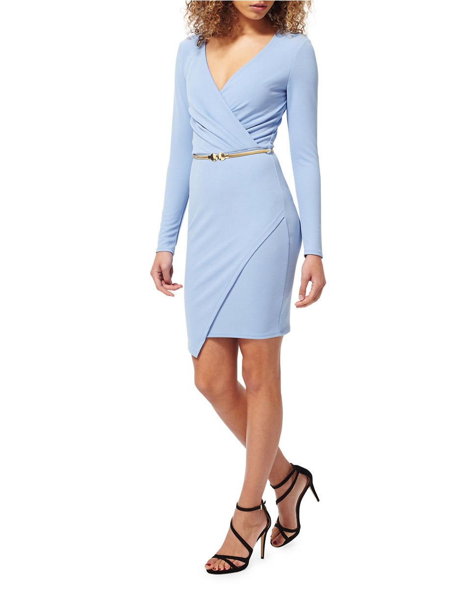 miss selfridge belted wrap dress in blue lyst