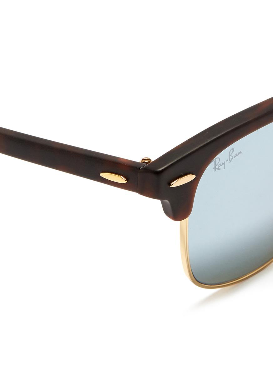 clubmaster acetate sunglasses  Ray-ban \u0027clubmaster\u0027 Matte Acetate Browline Mirror Sunglasses in ...