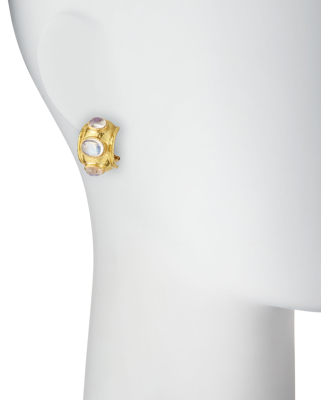 Elizabeth Locke Moonstone Cabochon Clip/Post Earrings Peu0rm9