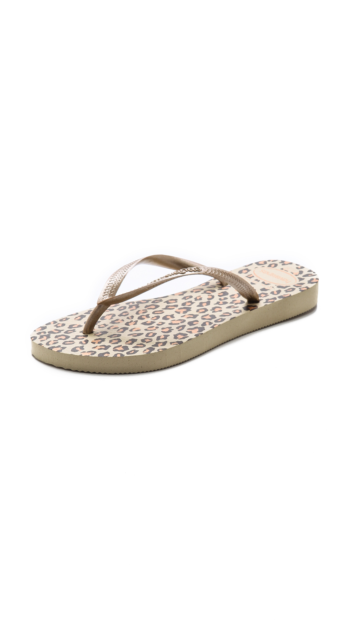 5c76f21bb8ef4 Havaianas Slim Leopard Flip Flops in Natural - Lyst