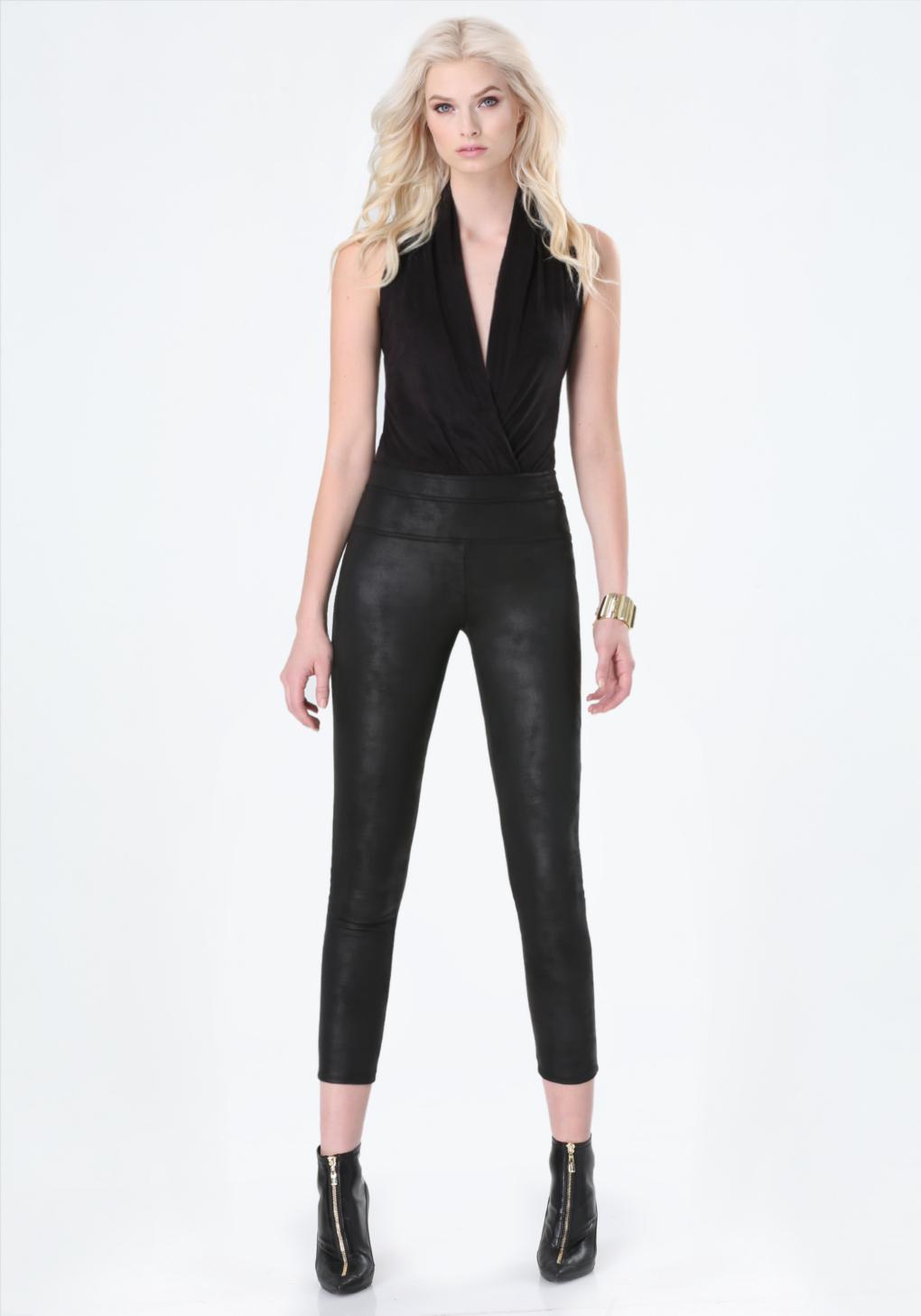 Lyst - Bebe Faux Suede Bodysuit in Black 3c9cd5fae
