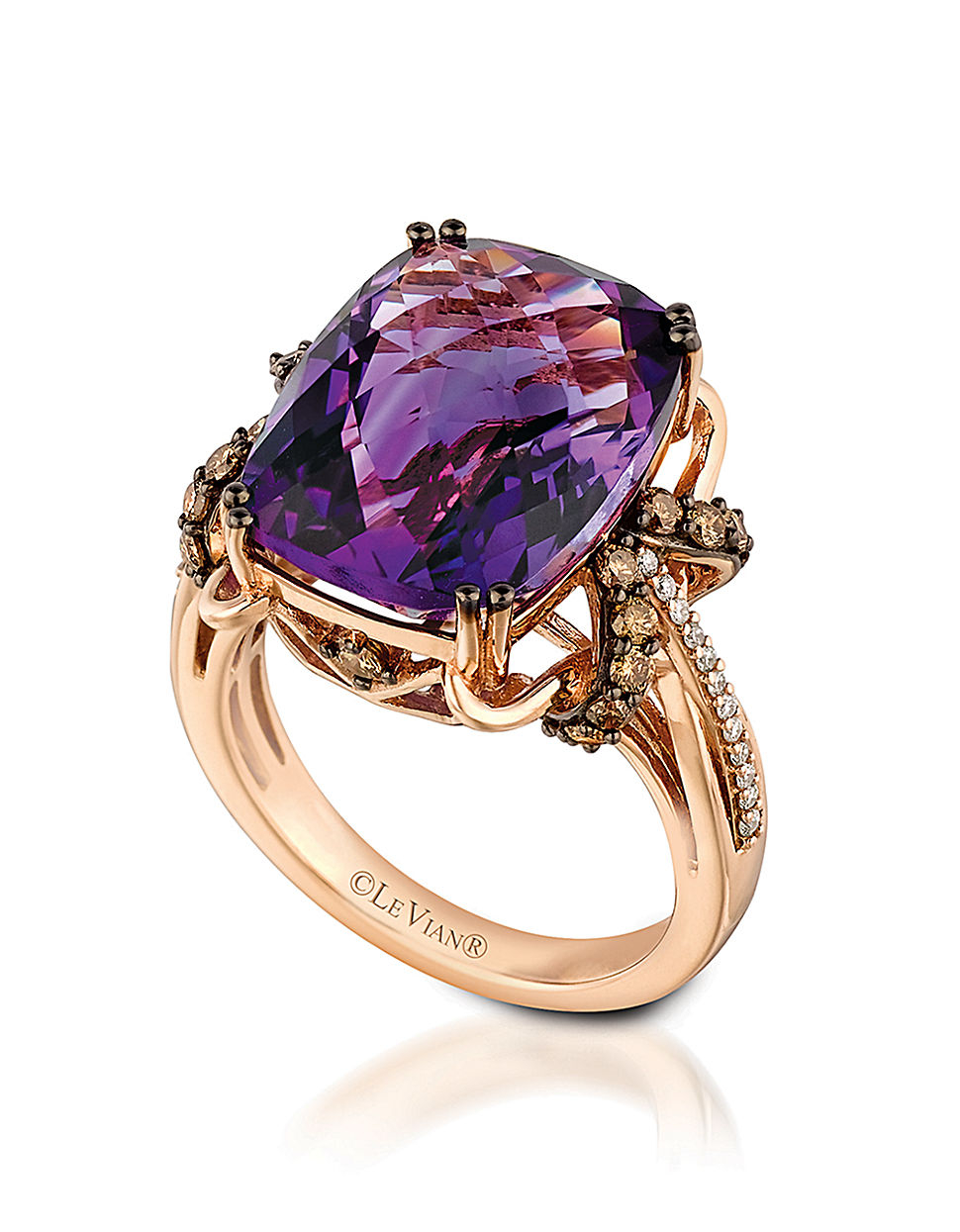 Le Vian 14k Rose Gold Amethyst And Diamond Ring In Purple