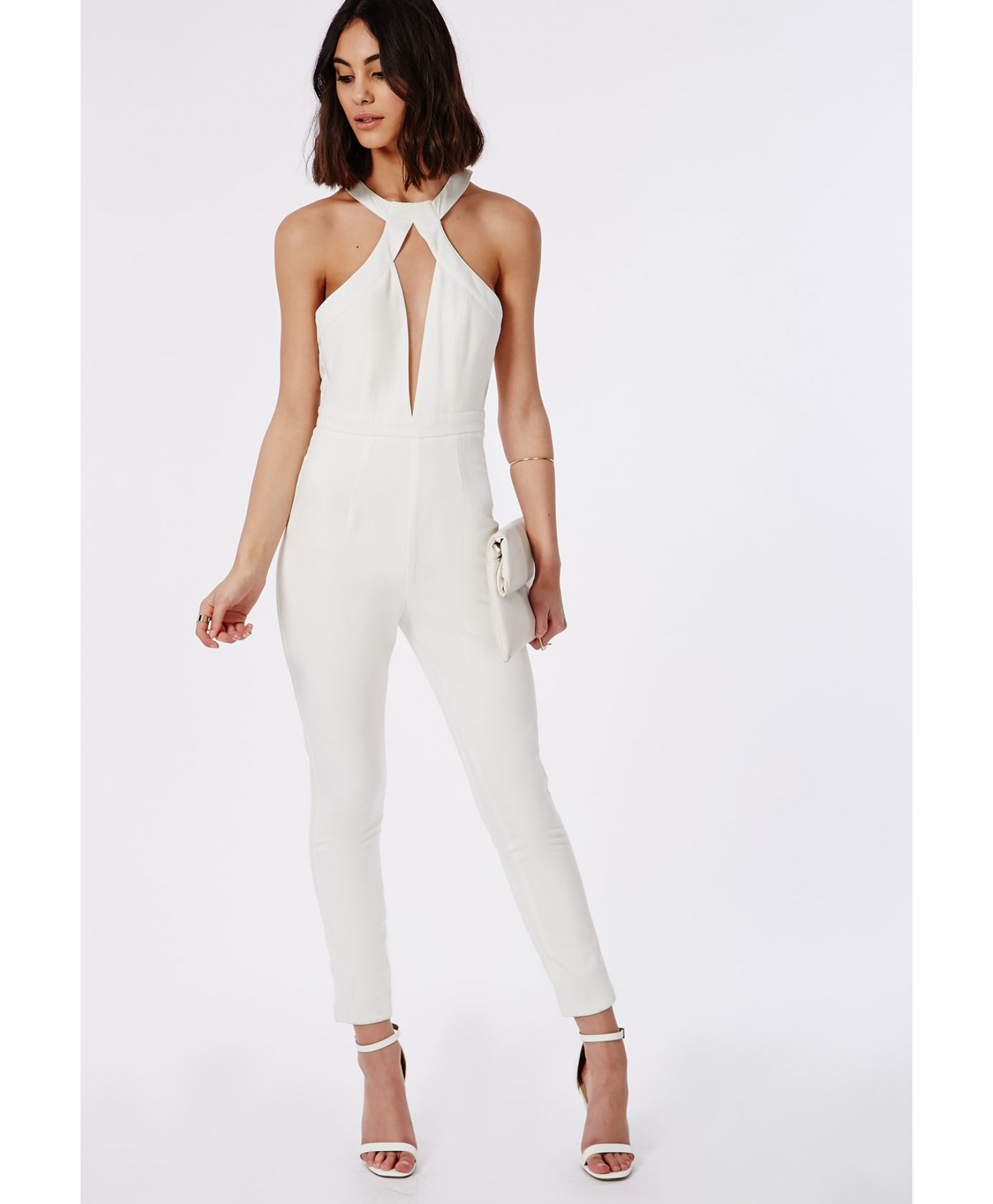 4c89f6a6a51 Missguided Plunge Cut Out Tailored Jumpsuit White in White .