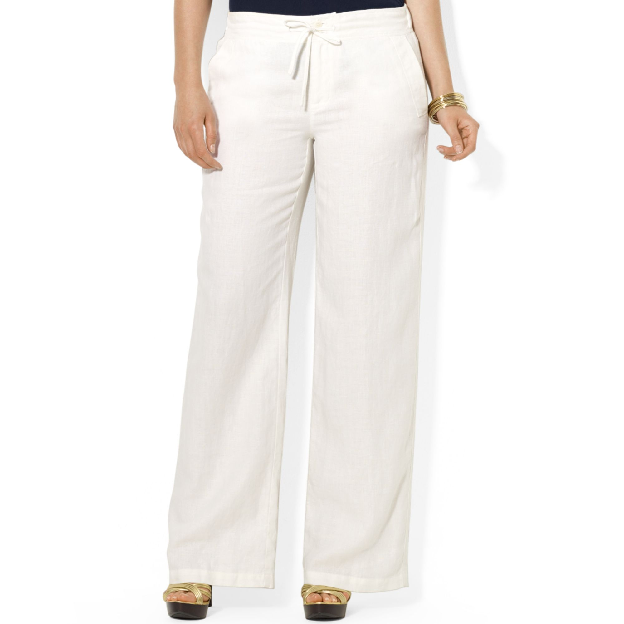 053ec3964e1a Lauren by Ralph Lauren Plus Size Wideleg Linen Pants in White - Lyst