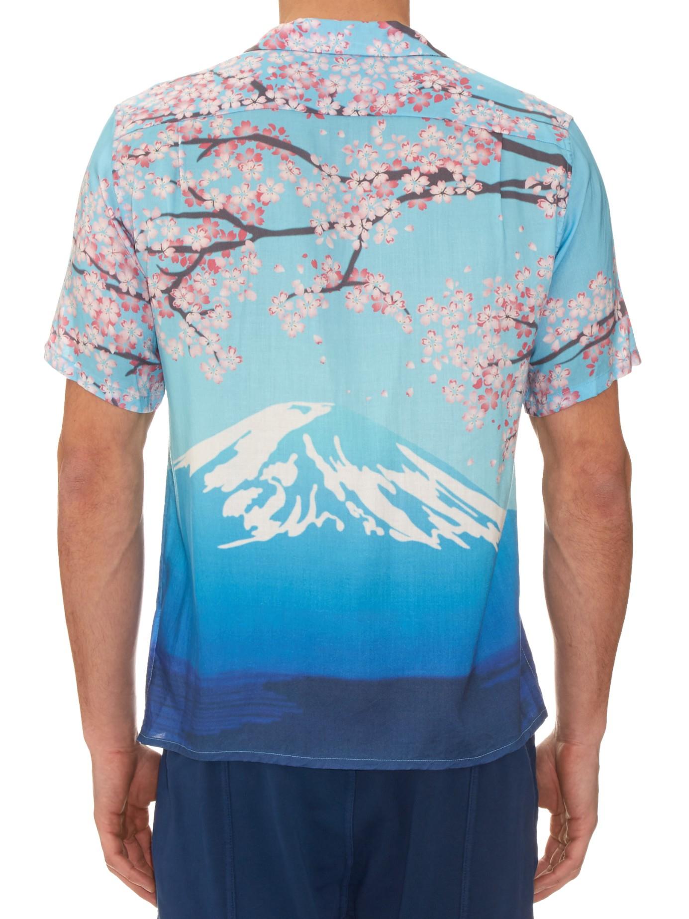 Blue Blue Japan Mountain Print Hawaiian Shirt For Men Lyst