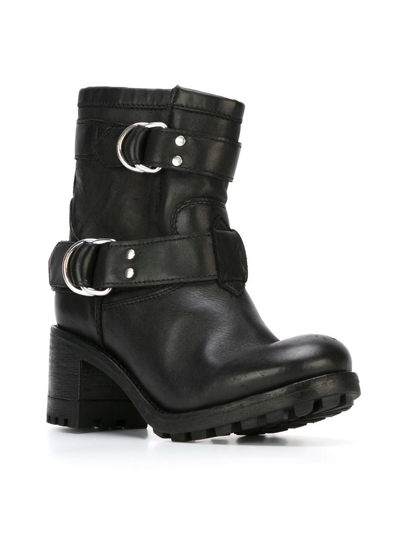 diesel chunky heel leather biker boots in black lyst