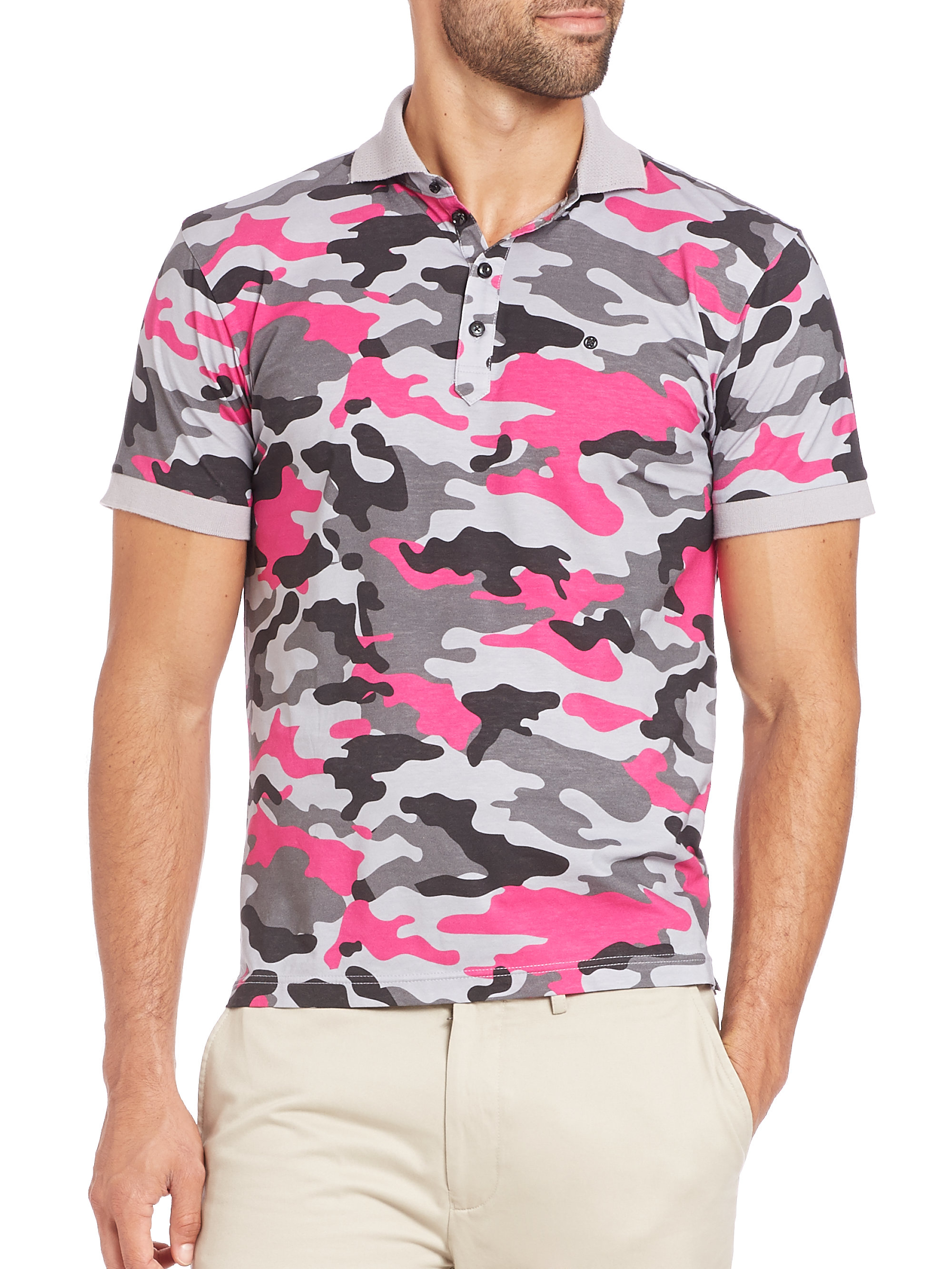 4a1a5f1e G/FORE Camo Polo in Pink for Men - Lyst