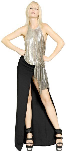 Versace Metal Mesh On Viscose Cady Dress In Gold Black