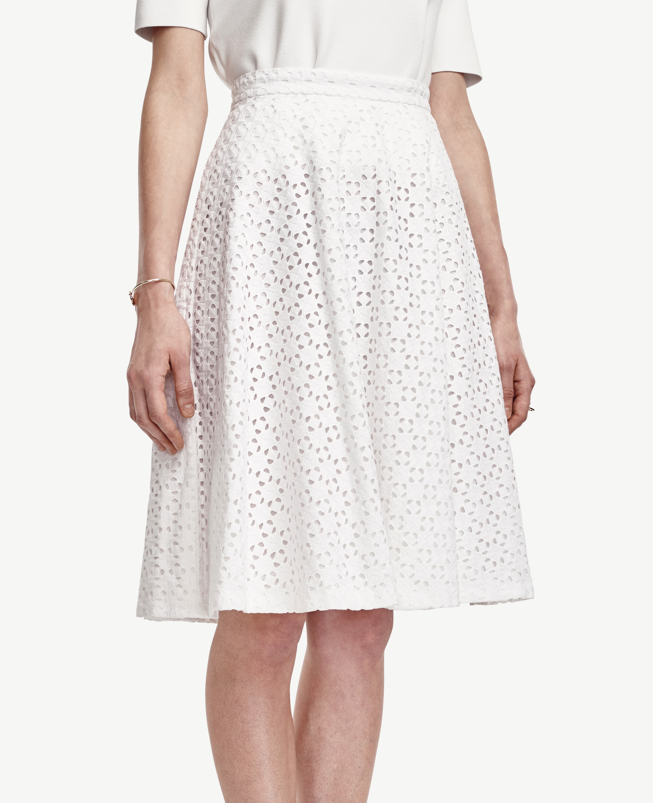 Ann taylor Tall Diamond Eyelet Skirt in White | Lyst
