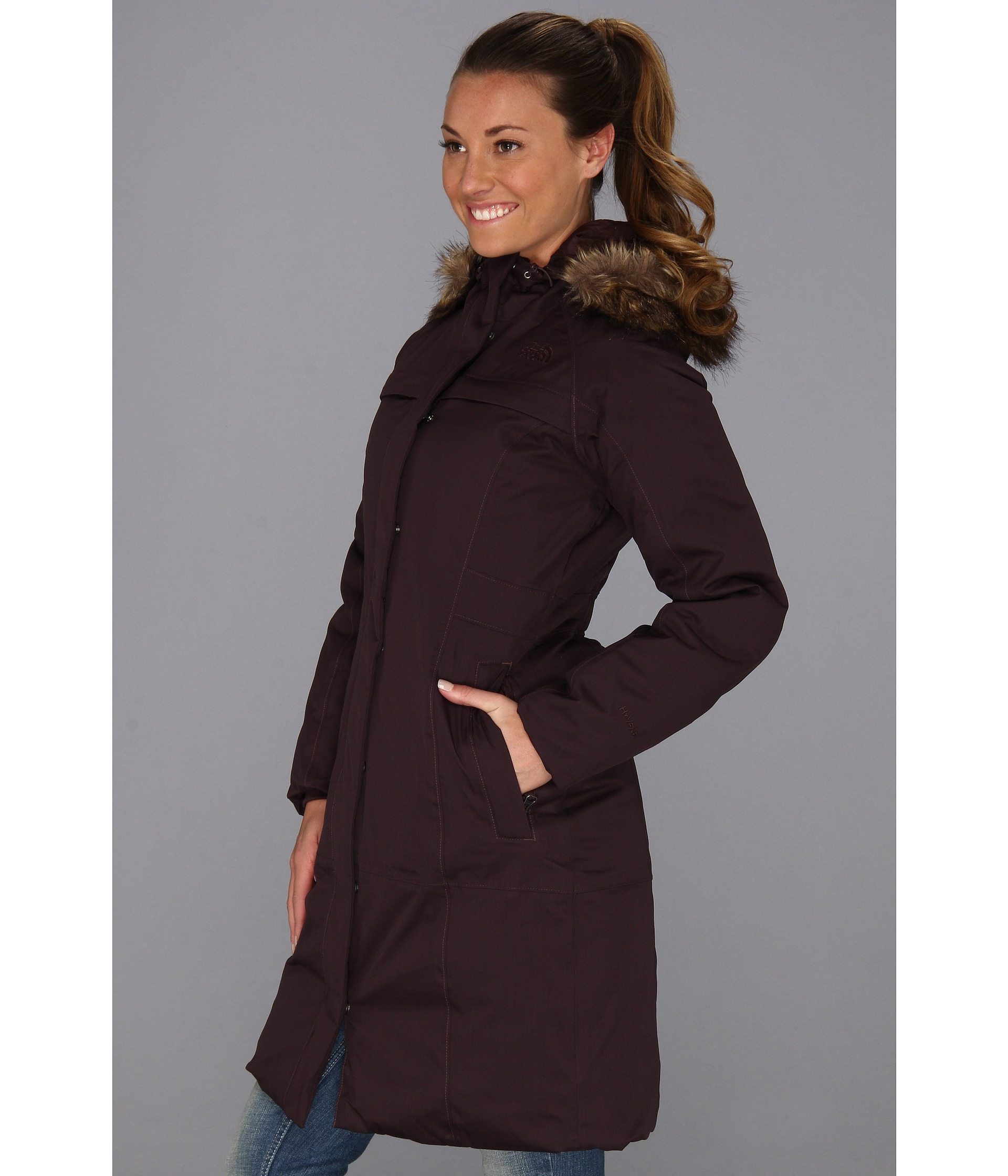 the north face arctic parka in brown merlot red lyst. Black Bedroom Furniture Sets. Home Design Ideas