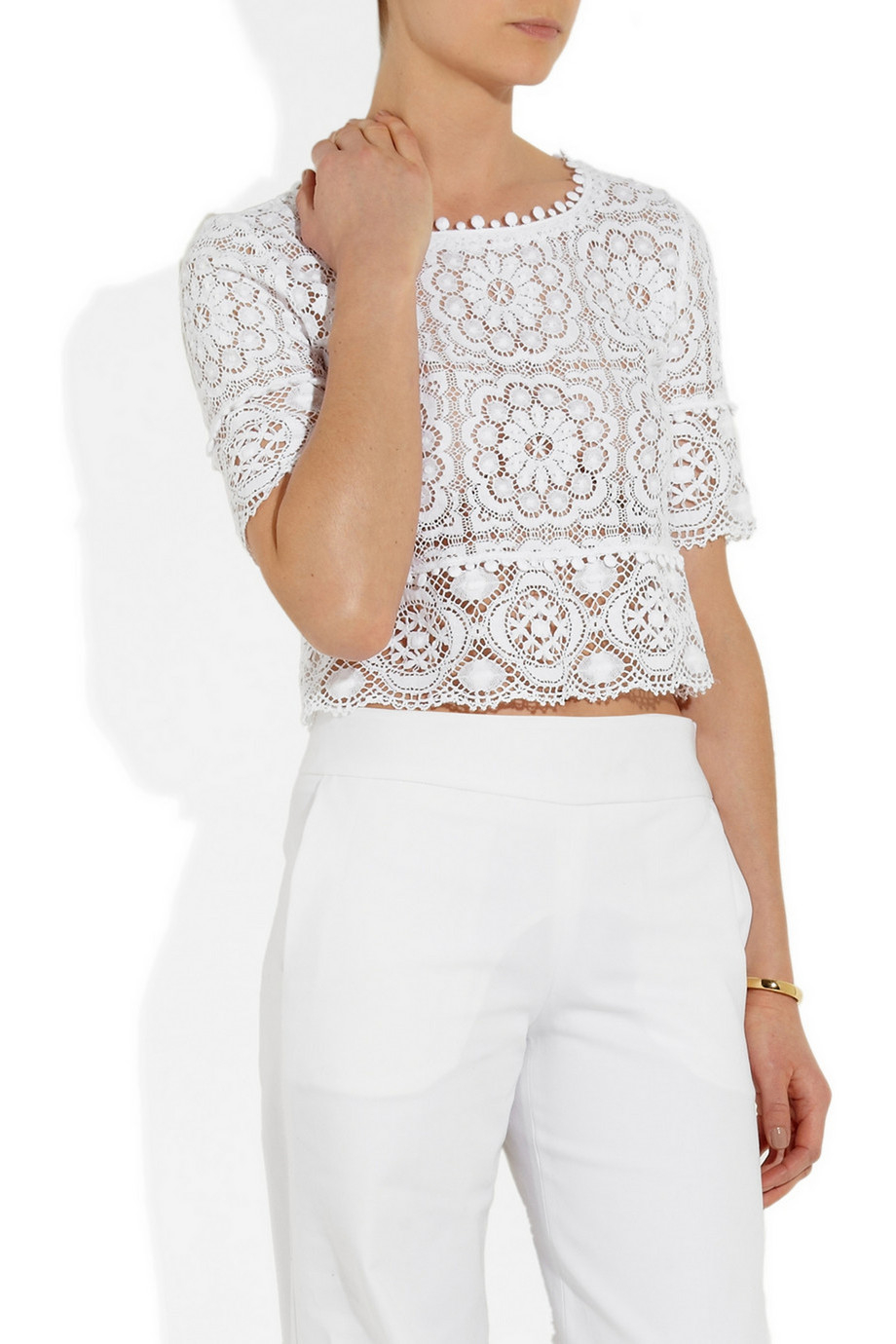 Cheap Price From China Oscar de la Renta broderie anglaise top Cheap New Buy Cheap Great Deals For Sale Wholesale Price PCFZ3V
