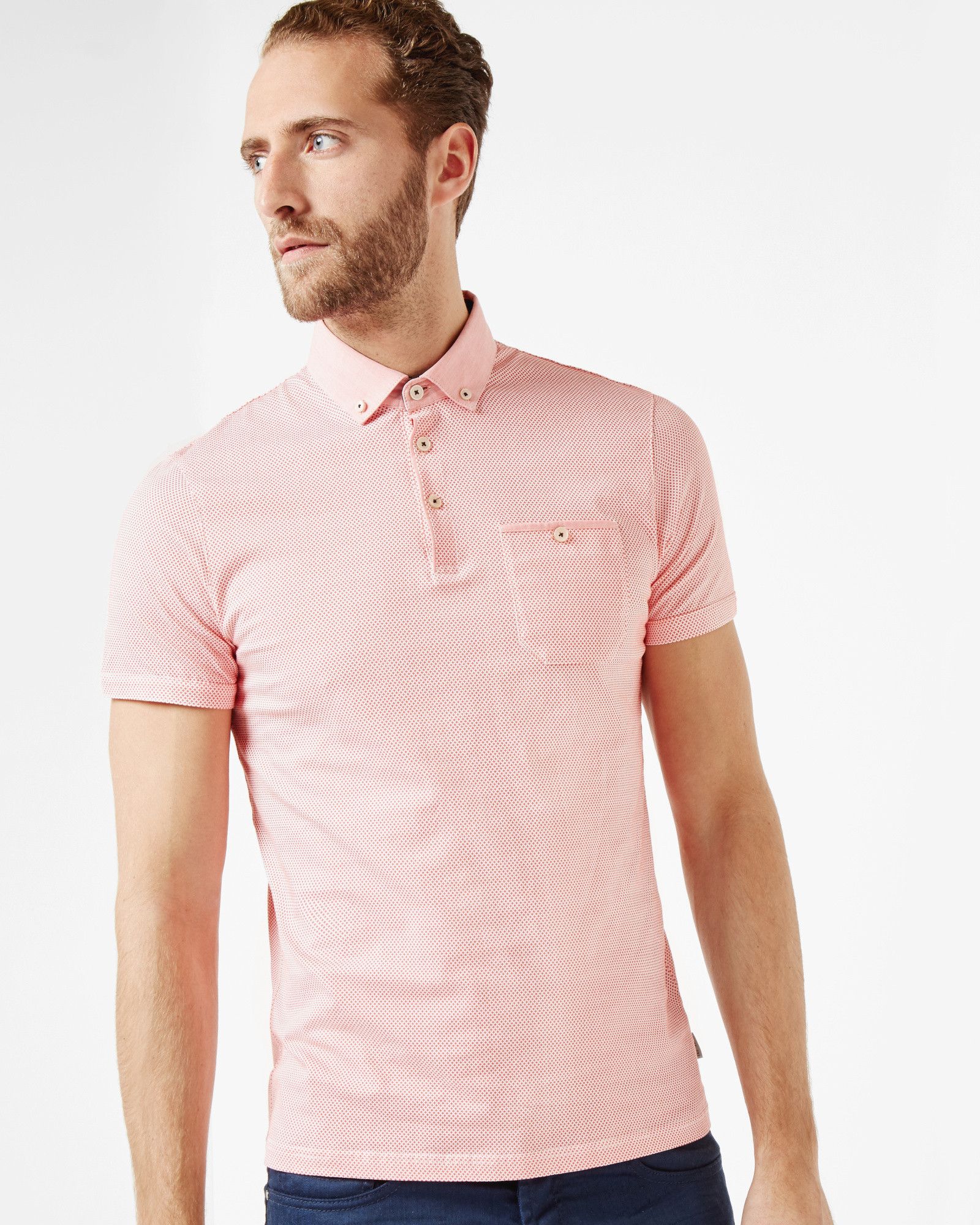 Ted Baker Geo Print Cotton Polo Shirt In Pink For Men Lyst