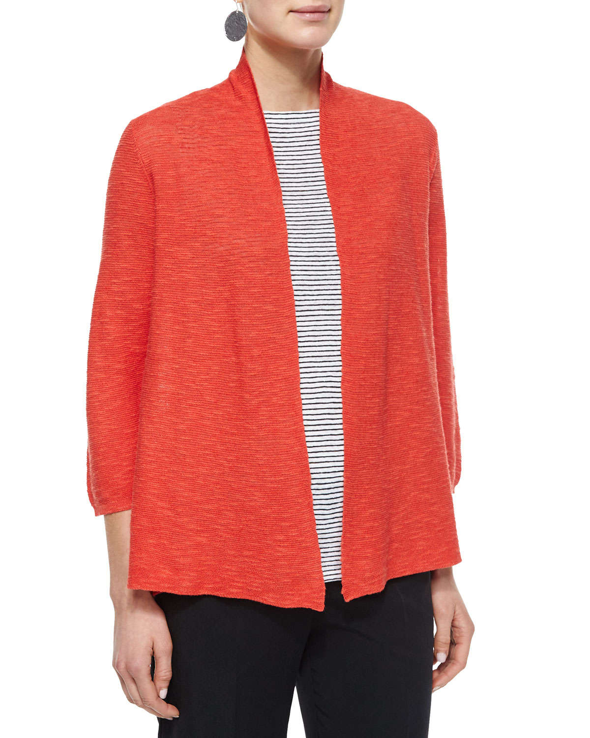 Eileen fisher 3/4-sleeve Organic Linen Cotton Cardigan in Orange ...