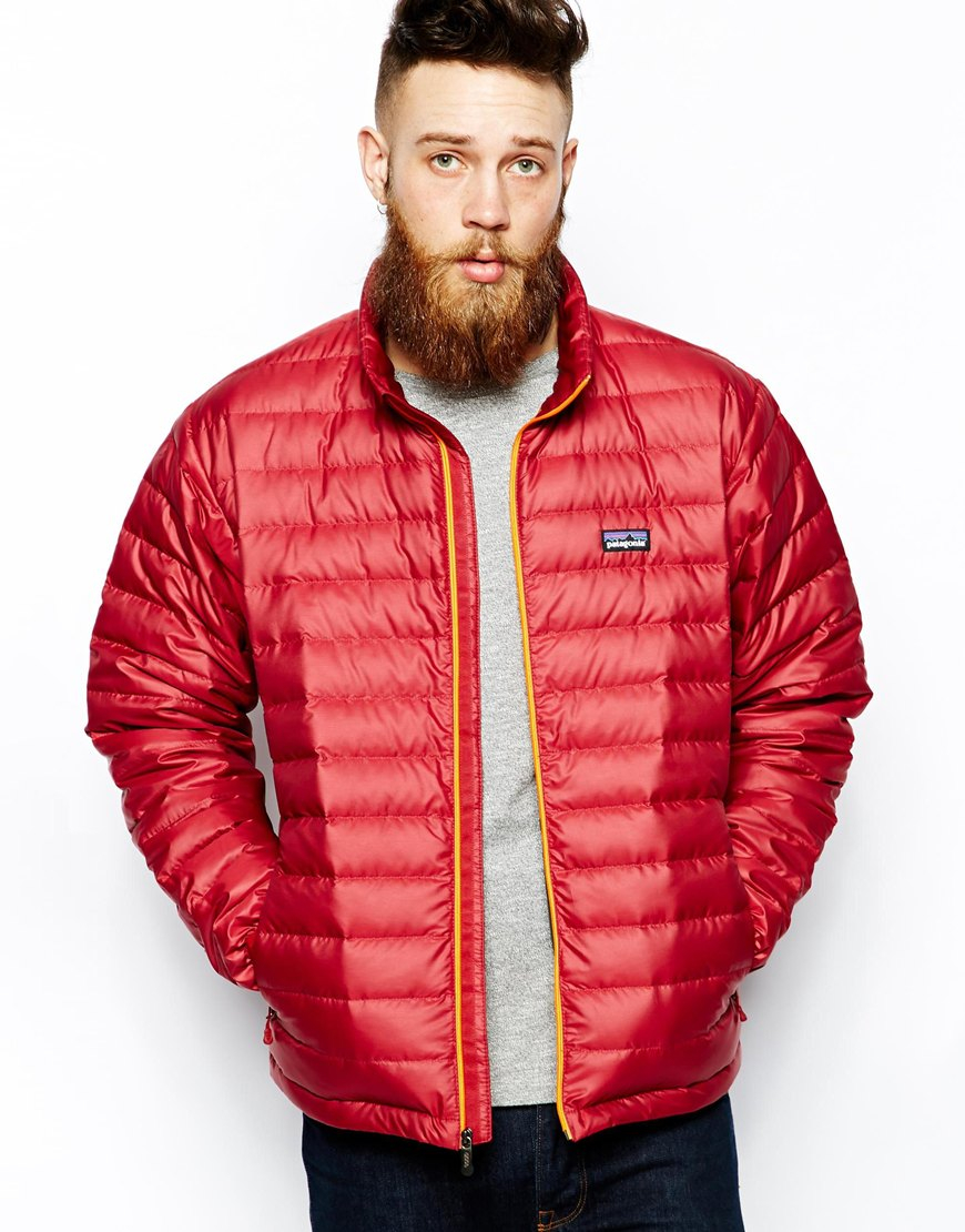 Patagonia Down Sweater Jacket in Red for Men | Lyst
