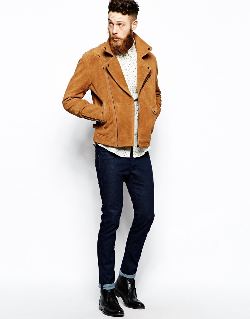Asos Suede Biker Jacket in Brown for Men | Lyst