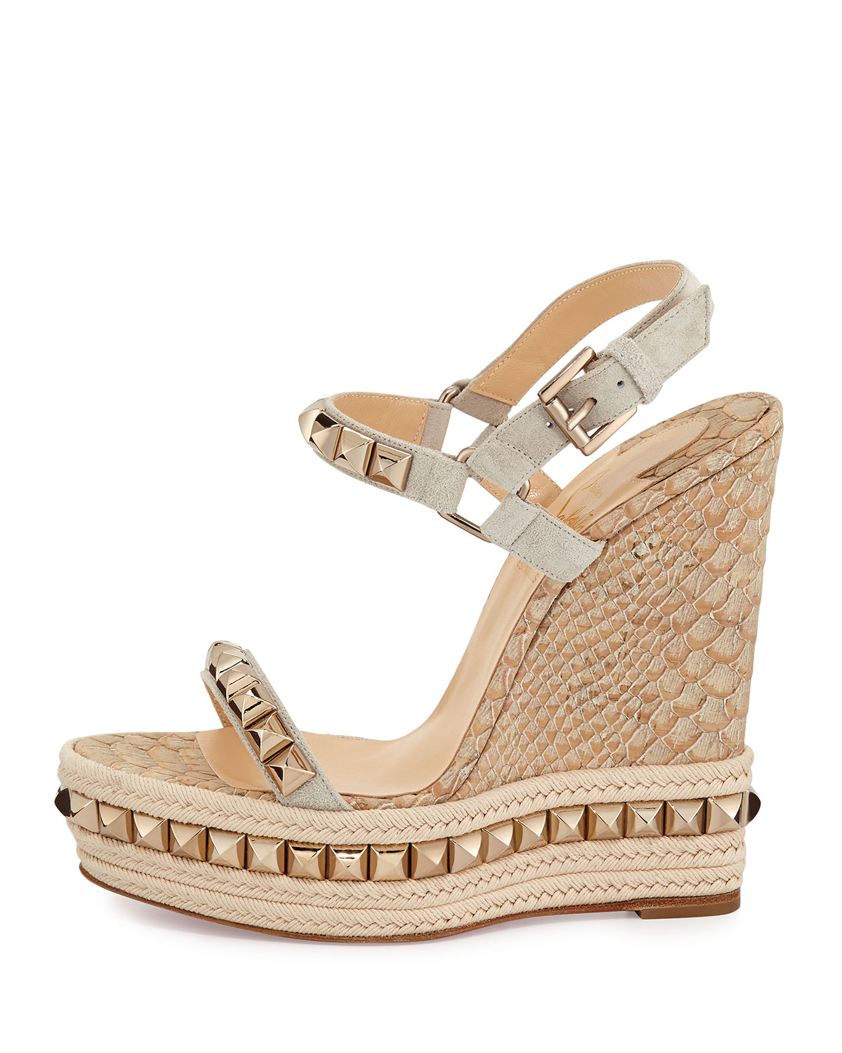 replica sneaker - Christian louboutin Cataclou Python-Embossed Wedge Sandals in Gold ...