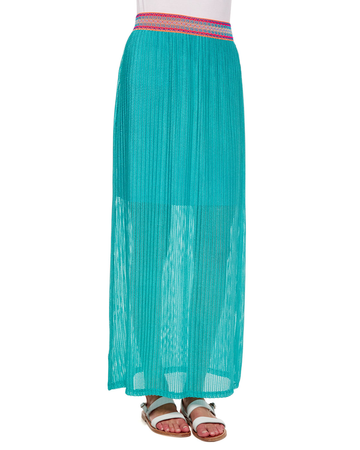 neiman chevron pattern maxi skirt in green jade