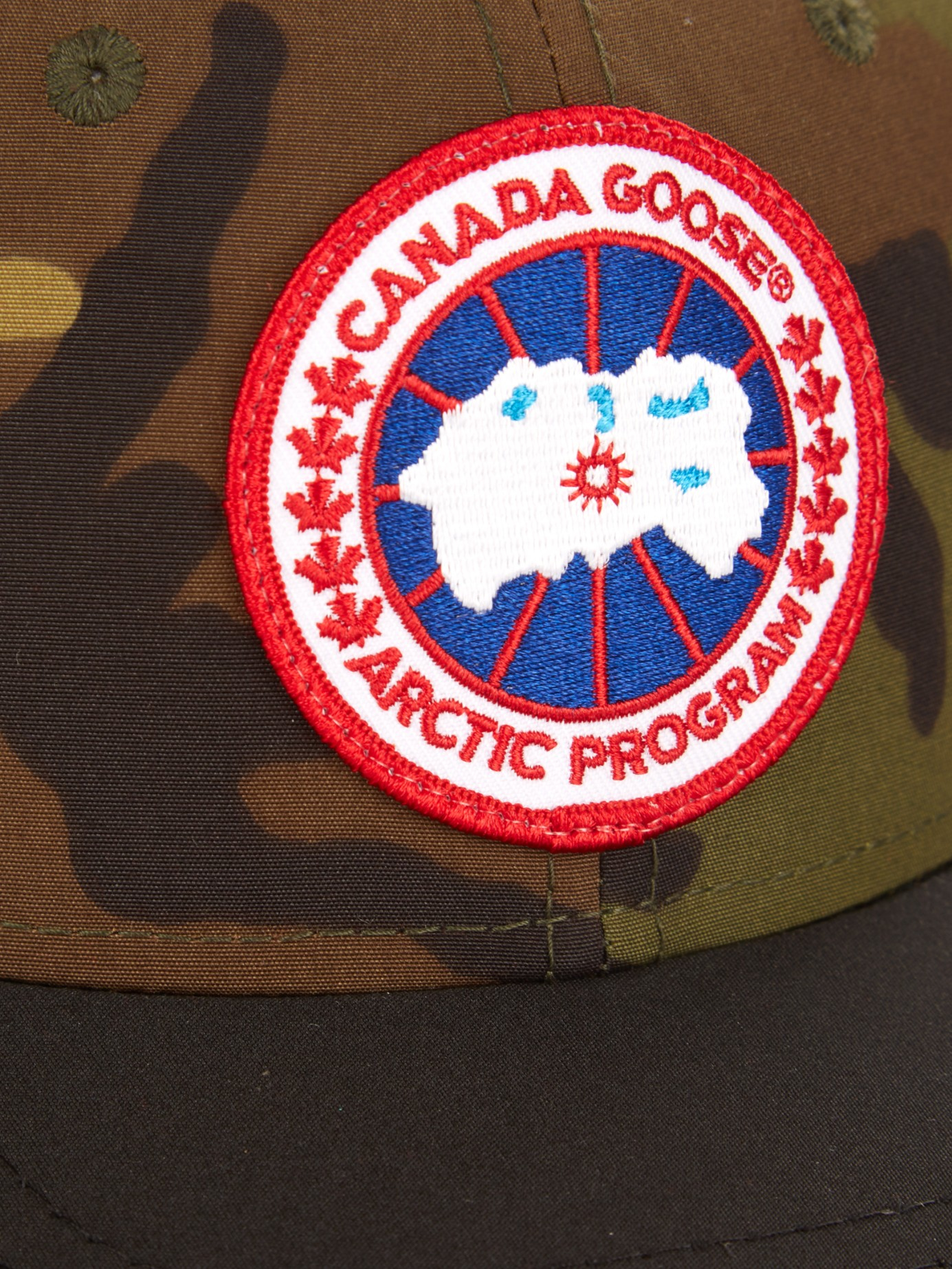 Lyst canada goose logo embroidered camouflage print cap