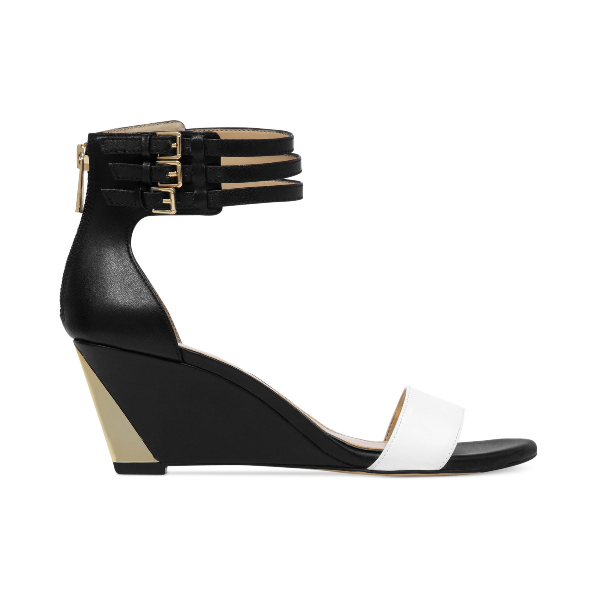 Black Wedge with Ankle Strap Sandals