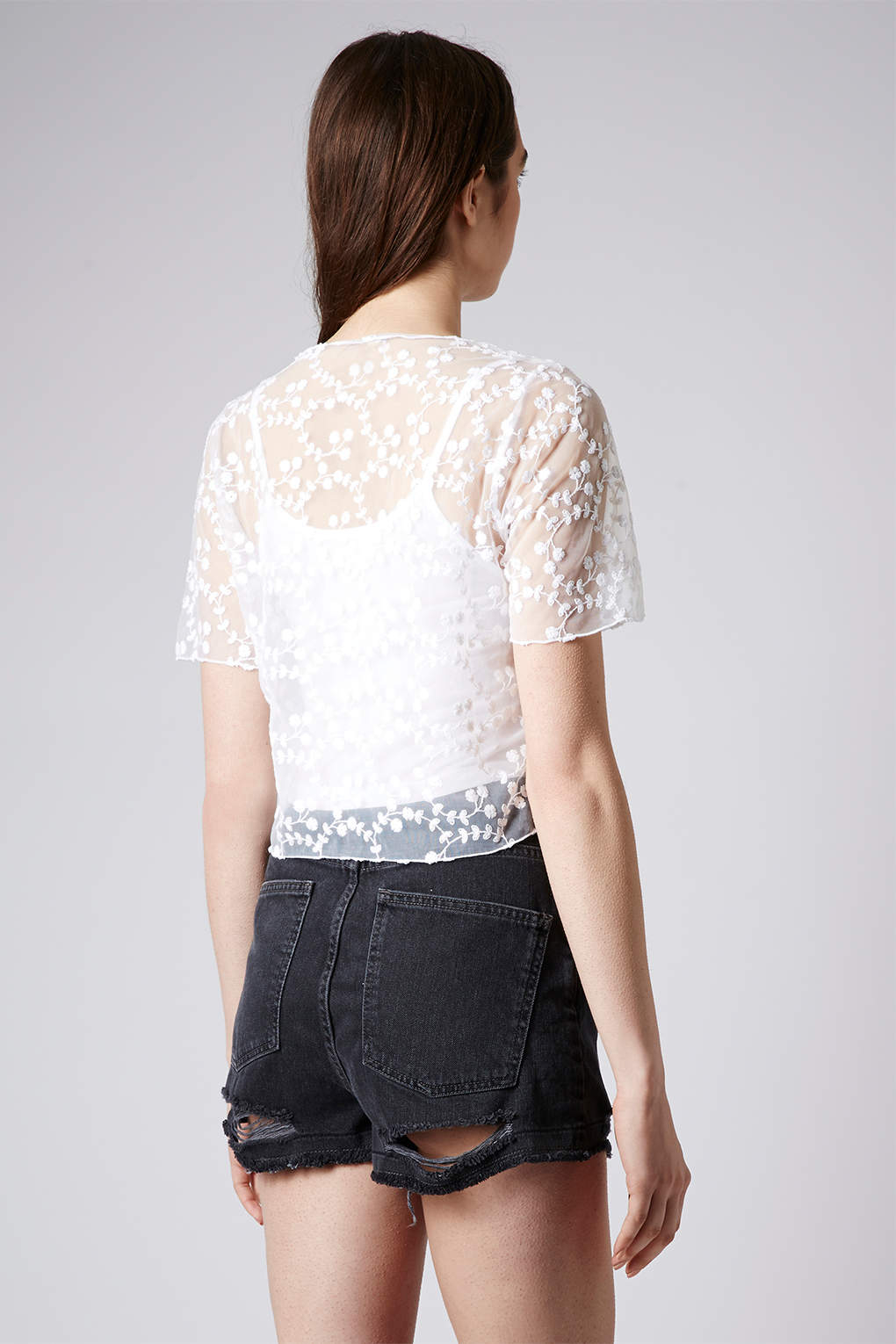 Lyst Topshop Embroidered Mesh Top In White