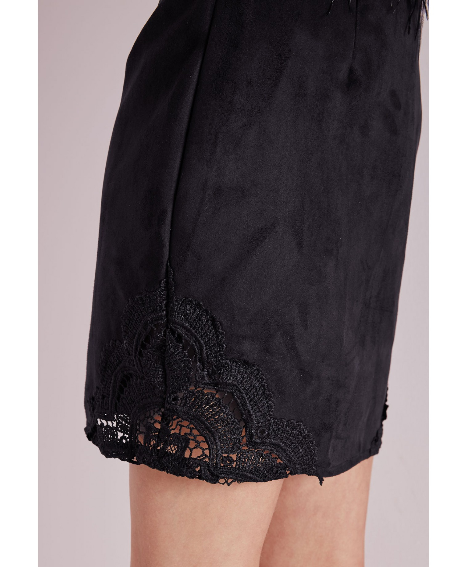 Missguided Lace Hem Faux Suede A-line Skirt Black in Black | Lyst