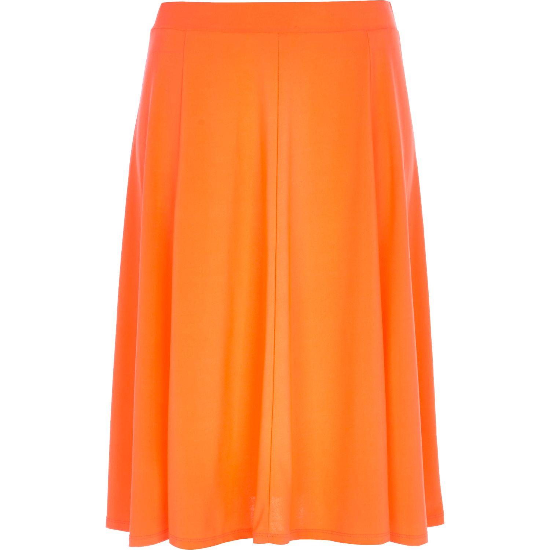 river island bright orange midi skirt in orange lyst