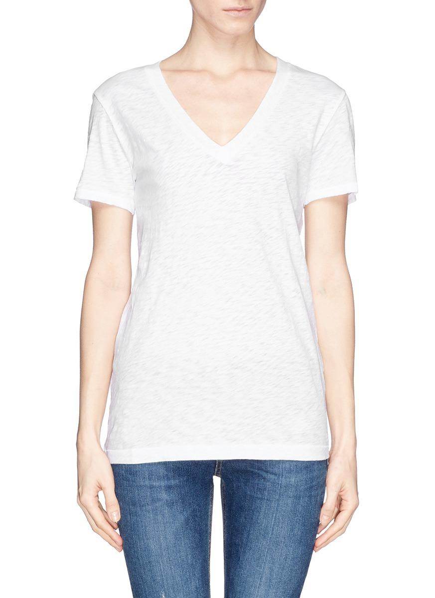 Rag bone 39 the classic 39 v neck t shirt in white lyst for Rag bone shirt