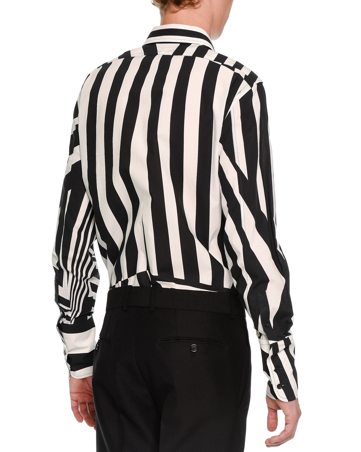 Lyst - Alexander mcqueen Stripe-patched Button-down Shirt in Black ...