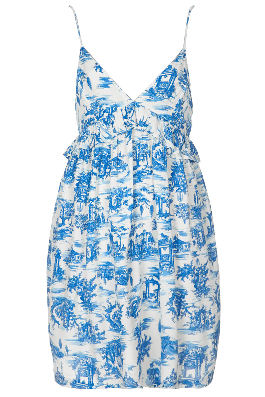 1b0684ee82f Lyst - TOPSHOP Toile Print Babydoll Dress in Blue