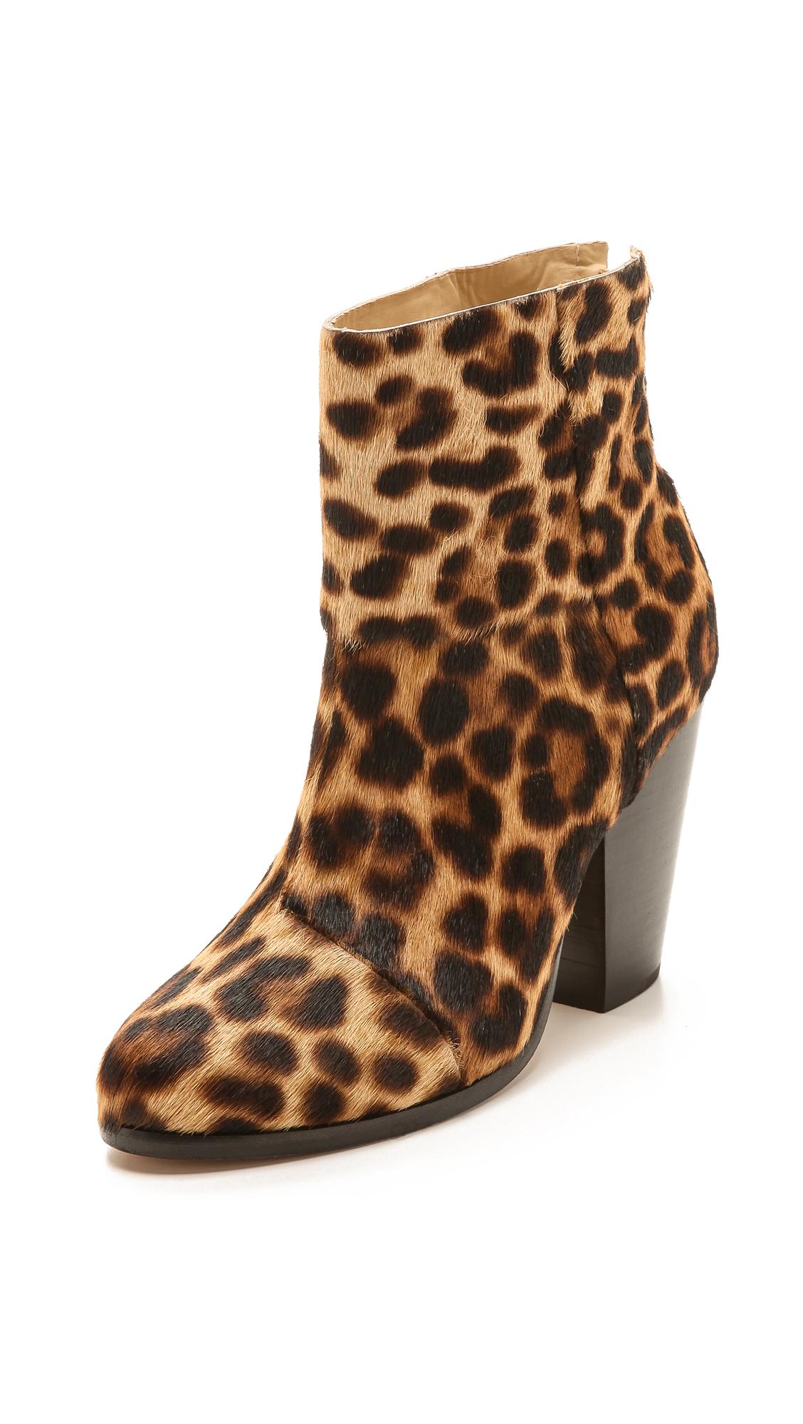 Rag Amp Bone Newbury Leopard Print Calf Hair Ankle Boots Lyst