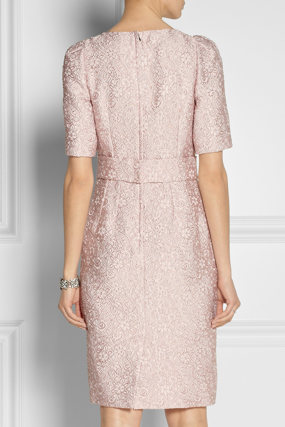 Lyst Dolce Amp Gabbana Belted Jacquard Dress In Pink