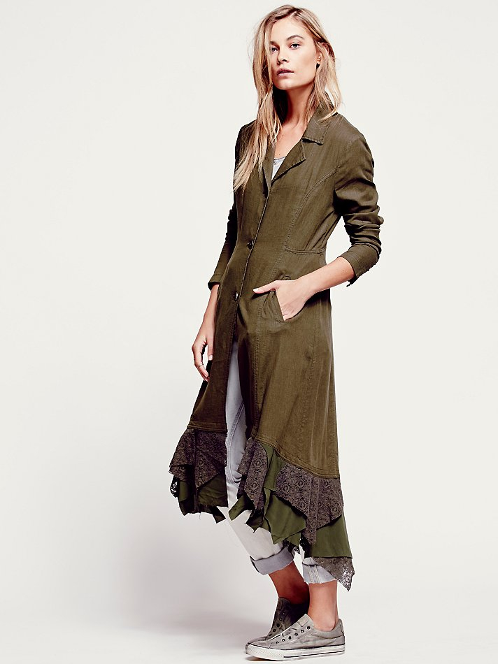 Free People Womens Linen Long Lace Up Jacket In Green Lyst