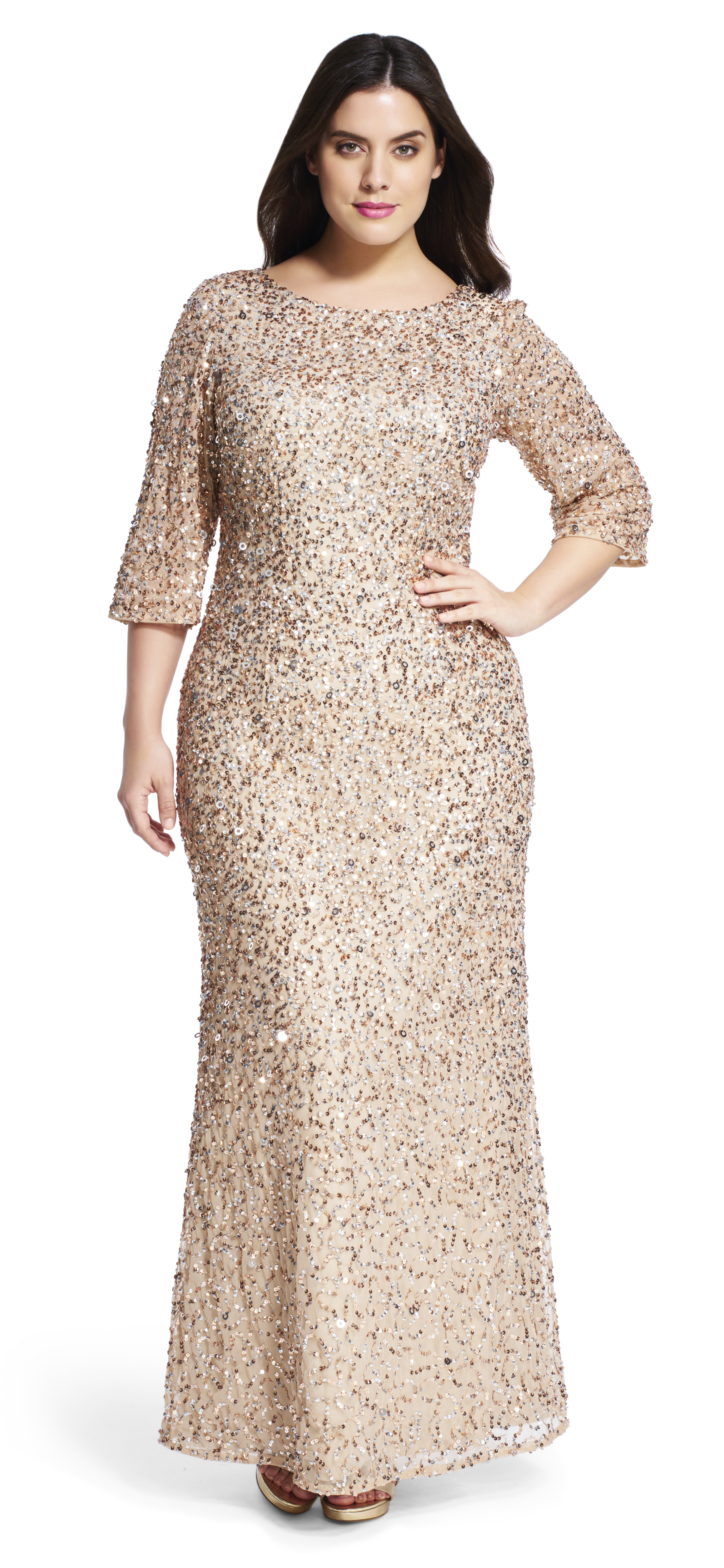Lyst adrianna papell gold sequin elbow sleeve gown in metallic gallery ombrellifo Images