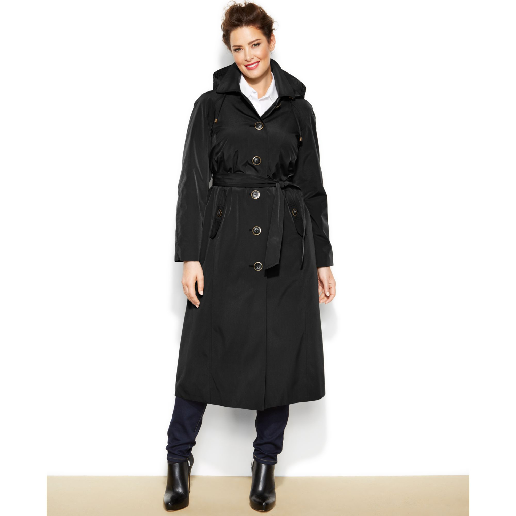 London Fog Plus Size Long Trench Coat in Black - Lyst