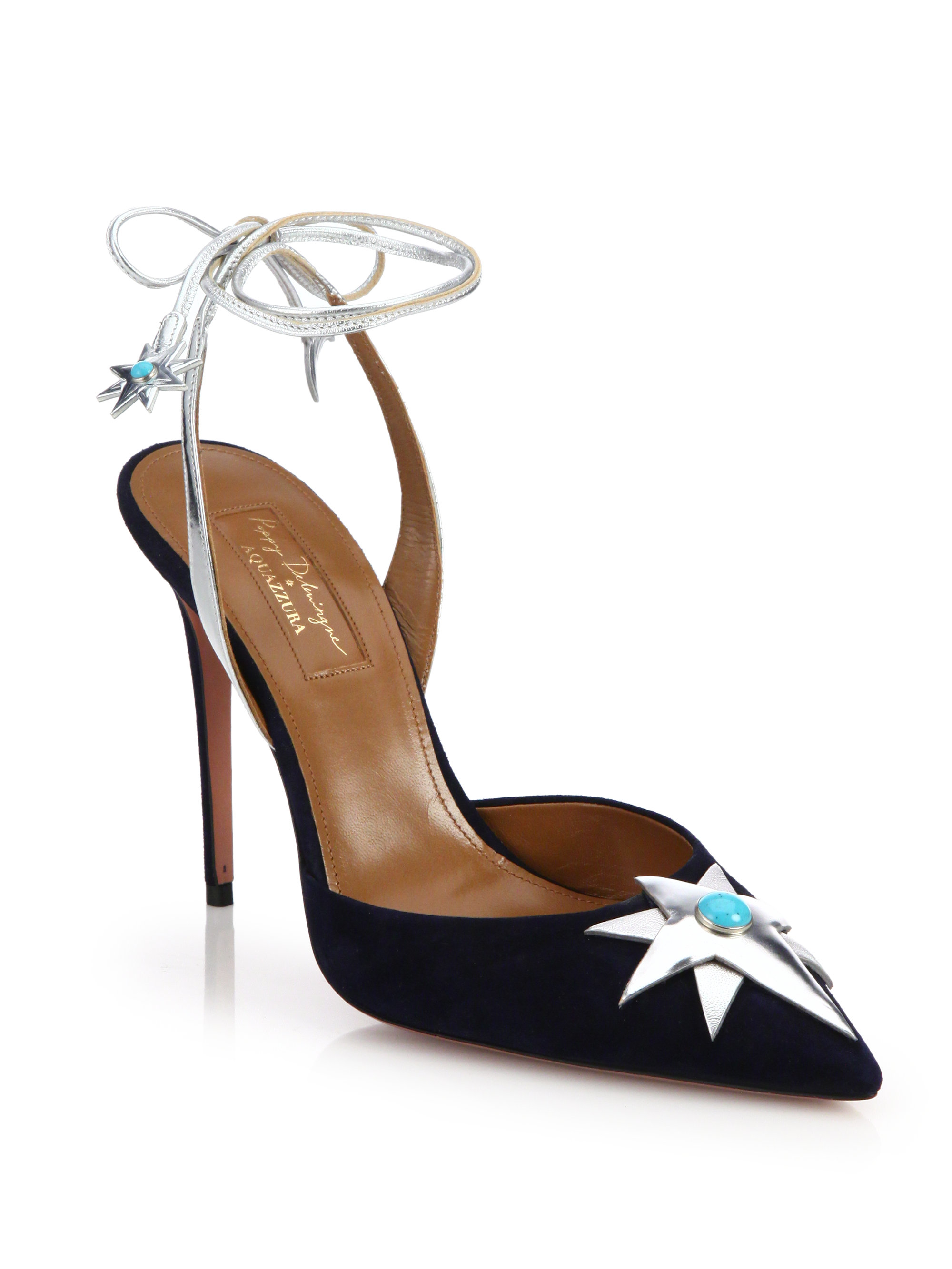 18a6c1fc39 Lyst - Aquazzura Midnight Leather and Suede Slingback Pumps in Blue