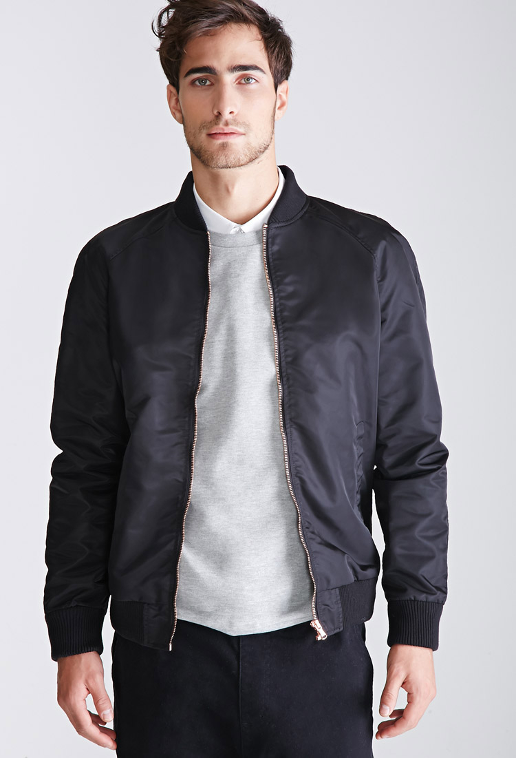Lyst - Forever 21 Nylon Raglan Bomber Jacket in Black for Men
