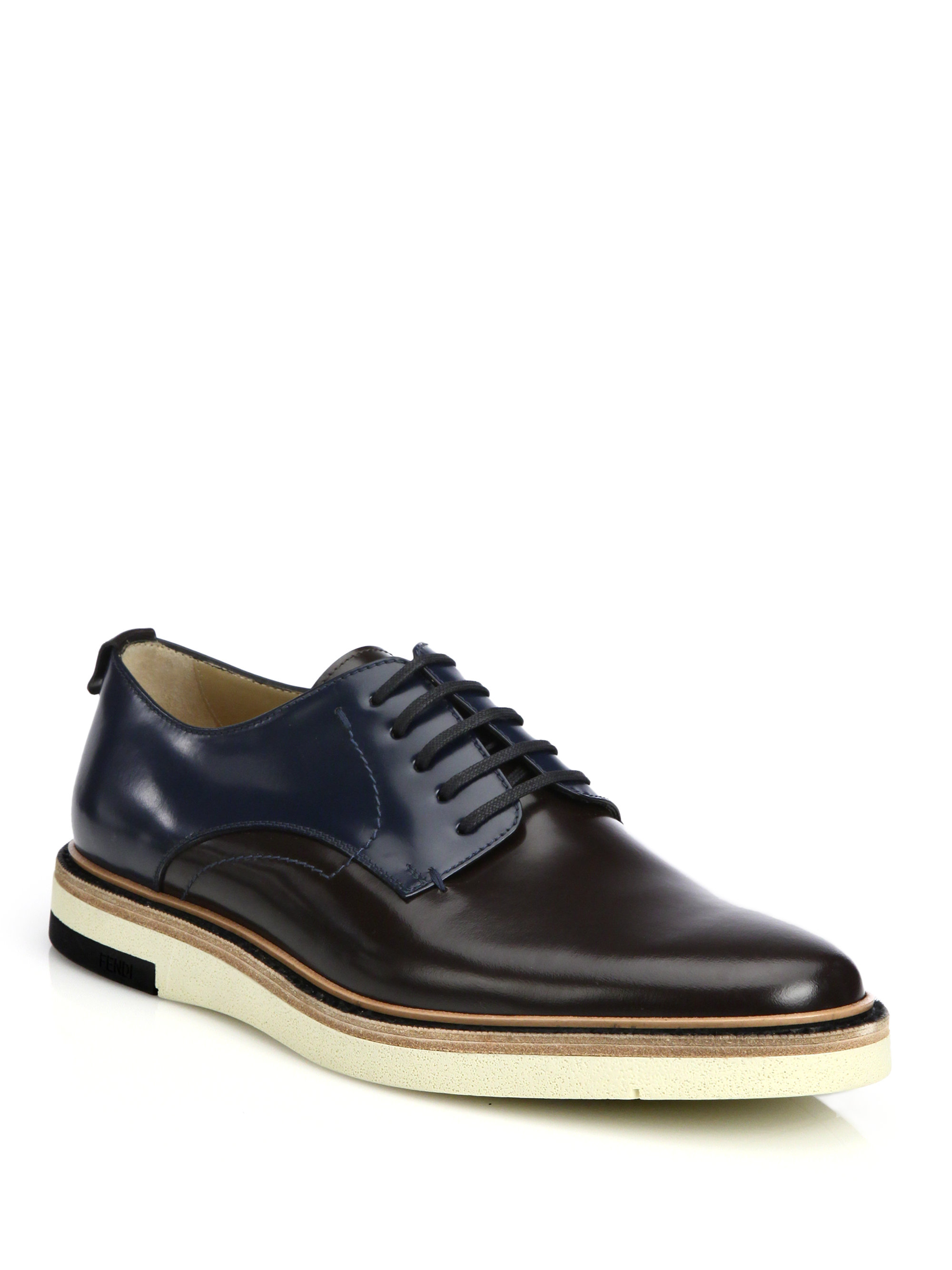 a326bacd84506 Lyst - Fendi Colorblocked Leather Lace-Up Hunting Shoes for Men