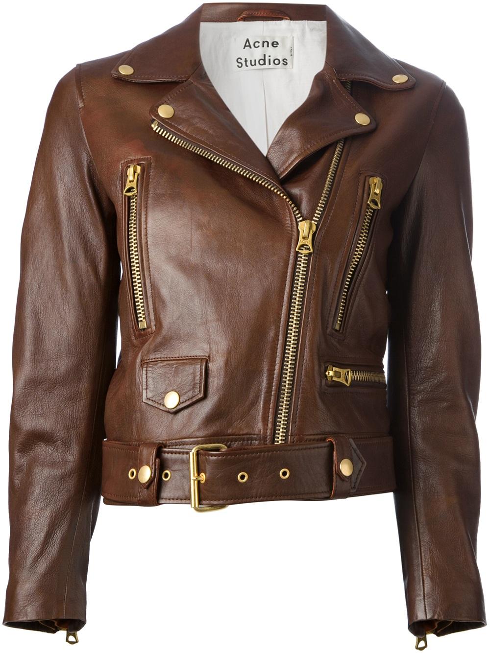 Acne Studios Mock Vintage Biker Jacket in Brown - Lyst