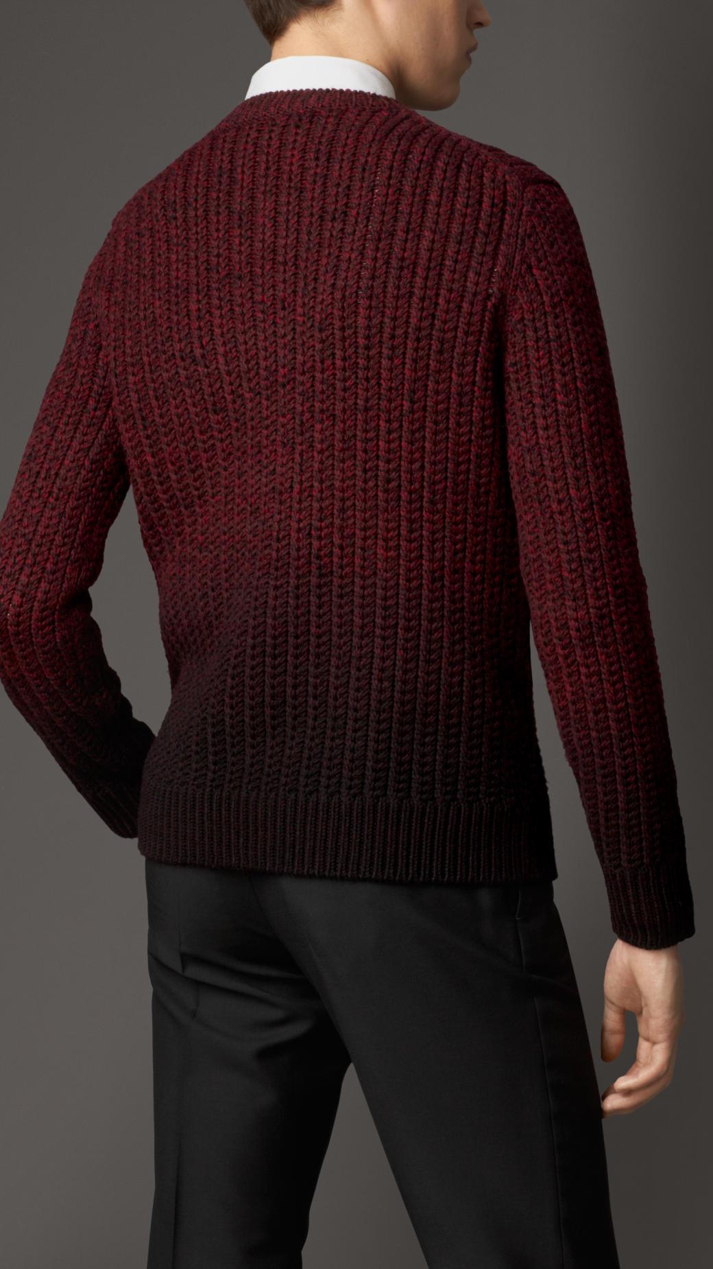Burberry Merino Wool Dip Dye Sweater in Purple for Men | Lyst