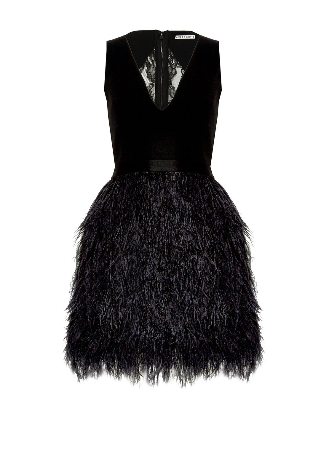 Lyst Alice Olivia Kiara Ostrich Feather And Lace Dress